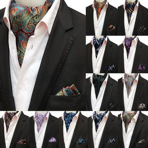 Wholesale ascots ties resale online - Mans Vintage Silk Ascot Tie Poet Square Set Luxury Mans Paisley Flower Cravat Ne Tie Handkerchief Gifts for Men