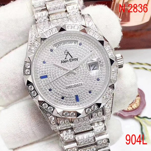 ingrosso diamante-Top Iced Out Gear Silver Date Just Just full Diamonds Bezel Sapphire Glass Automatico ETA N2836 Movimento