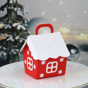 Wholesale chinese back packs resale online - Christmas Party Gift box Packing for Chinese Red Christmas Small House Gift Bags and Red house Candy box Wedding Favor