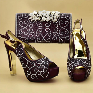 Wholesale african shoes and bags set for sale - Group buy African Party Italian Shoes with Matching Bags for Women Ladies Shoe and Bag Set Decorated with Rhinestone Shoes Woman High Heel
