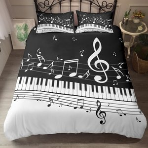 Wholesale crib set music resale online - ZEIMON D Printing Bedding Set Music Note Treble Clef Staff Black White Pieces Duvet Cover Sets Microfiber Bed Clothes C1020