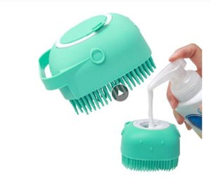 Wholesale short hair up resale online - Pet Dog Shampoo Brush oz ml Cat Massage Comb Grooming Scrubber Brush for Bathing Short Hair Soft Silicone Rubber Brushes