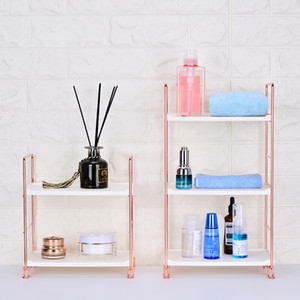 Wholesale gold desk organizer resale online - Rose Gold Metal Makeup Organizer for Cosmetics Desk Decor Storage Rack For Bathroom Shelf Kitchen Storage Organizer LJ200812