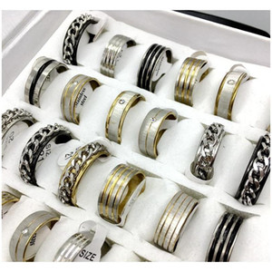 Wholesale stainless steel pa for sale - Group buy 36pcs Mixed Style Men s Womens Stainless Steel Rings Fashion Jewelry Pa wmtxPp homes2007