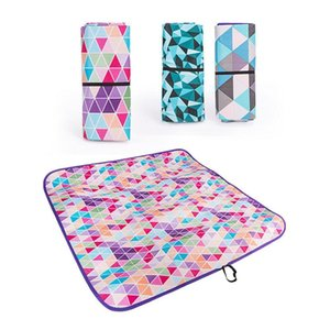 Wholesale baby crawling blankets resale online - Outdoor Portable Beach Picnic Blanket Folding Waterproof Geometric Printed Camping Pad Mat Multipurpose Baby Crawling Mats Q0111