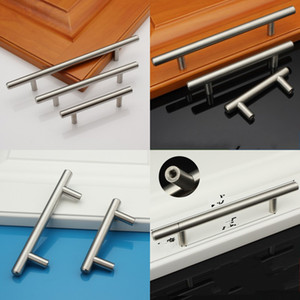 Wholesale handle cabinets resale online - T Type Cabinet Handles Stainless Steel Cupboard Door Drawer Pulls Wardrobe Shoe Kitchen Cabinets Kitchen Accessories GH300 K2