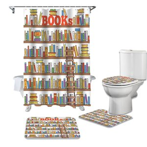 Wholesale book shelves for sale - Group buy Books Painted On Shelves Shower Curtain Sets Non Slip Rugs Toilet Lid Cover and Bath Mat Waterproof Bathroom Curtains GWE4664