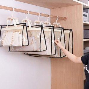 Dust-Proof Storage Bag Closet Wardrobe Organizer Hanging Handbag Transparent Door Wall Sundry Shoe Storage Bag