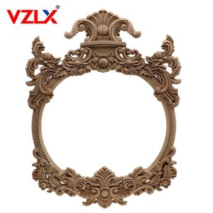 Wholesale furniture wood carving resale online - VZLX Wood Carving Corner Decal Wooden Applique Frame Wall Door Woodcarving Decal Photo Frame Figurines Home Decoration Furniture