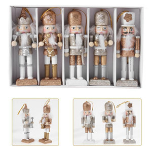 Wholesale christmas stores resale online - 1 Set Christmas Wooden Doll Decor Christmas Nutcracker Doll Pendant Creative Glittering Ornament for Party Store Hom1