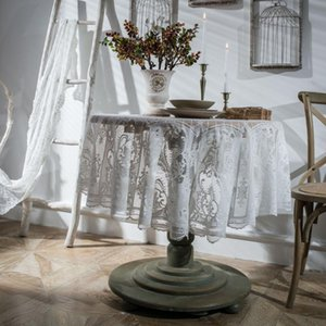 Wholesale crochet round cloths for sale - Group buy Round White Black Lace Tablecloth Nordic Cover Cloth Retro Embroidery Table Cloth Coffee Dining Table Tablecloth Beautiful