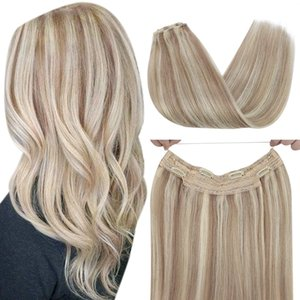 extensiones de halo cabello humanos al por mayor-Remy Ombre Halo Extente al cabello Hair Highlight Hightgs Blonde Balayage One Piece Halo Extensions Remy Human Hair G Pack