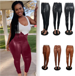Wholesale brown bow waist belt for sale - Group buy Women PU Leather Tight Leggings Pants S XL PLus Size Solid Fashion DesignHigh Waist Pencil Pants Casual Party Bottom Front Belt Bows F92904