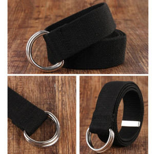 Wholesale men belt canvas webbing resale online - Popular Color Men Women Belt D Shaped Double Ring Buckle Designer Unisex Casual Jeans Canvas Belts Webbing Waistband