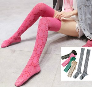 Wholesale cotton trouser socks resale online - Color autumn and winter tide brand letter stockings bright silk high tube knee fashionable leg ladies warm cotton socks