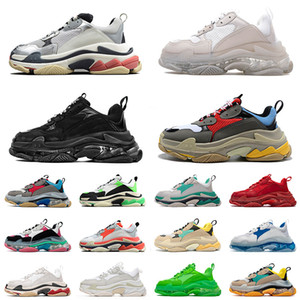 Wholesale lace old fashioned shoes for sale - Group buy 2021 fashion sneakers clear sole triple s casual dad shoes men women platform FW paris vintage old crystal bottom triple s designer sport