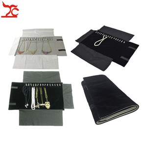 Wholesale necklace storage roll for sale - Group buy Sale Jewelry Roll Bag Portable Carring Case Black Velvet Organizer Necklace Chain Bracelet Storage Box Colors Available