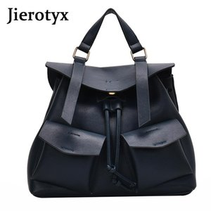 Wholesale teenage travelling backpack resale online - JIEROTYX Small Back Pack Women Fashion Leather Flap Pocket Backpack Multifunction Back Travelling School Bags For Teenage Girls