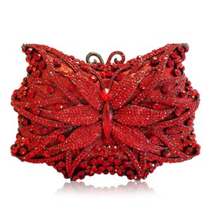 Wholesale red butterfly handbag for sale - Group buy Hollow Out Butterfly Diamond Ladies Red Evening Golden Crystal Women Clutch Purse Party Handbags Fashion Shoulder Bag Q1113
