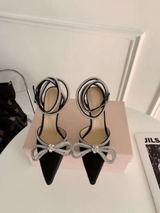 Wholesale satin ankle wrap heels for sale - Group buy Pointy bow rhinestone high heeled shoes maiden feeling versatile new hot diamond satin ankle strap wrap sandals female