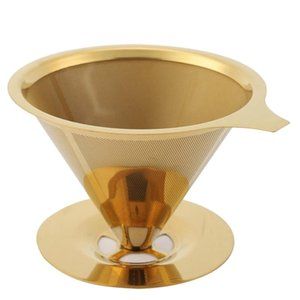 Wholesale gold dripper resale online - Double Wall Stainless Steel Titanium Gold Pour over Coffee Dripper Filter with Cup Stand and Handle