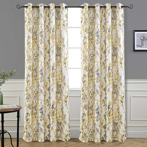 Wholesale thermal insulating curtains for sale - Group buy Abstract Floral Grommet Curtains Thermal Insulated Blossom Ink Painting Room Darkening Thermal Insulated Unlined Window Curtain