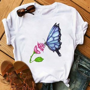 Wholesale butterfly kisses for sale - Group buy Fashion Butterfly Kiss Flower T shirt Women Korean Style Tumblr Aesthetic Short Sleeve Plus Size Tops Tees Female Clothe