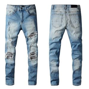 New Arrivals Mens Jeans Designers White Off Light Reflection Fit Arrival Biker Jeans Distressed Diamond Stripes Top Quality Pants Size 29-40