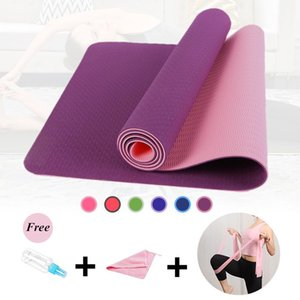 Wholesale yoga mat colors resale online - 6MM Yoga Mats for Fitness Non Slip Double Colors Safe to Use for Beginner Eco friendly Body Building Exercise Mat Pilate1