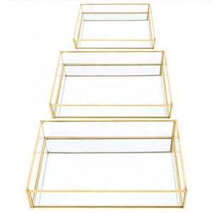 Wholesale jewelry display box tray for sale - Group buy Nordic Retro Storage Tray Gold Rectangle Glass Makeup Organizer Tray Dessert Plate Jewelry Display Storage Box C0116