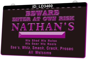 Wholesale beware signs for sale - Group buy LD3460 Beware Enter At Own Risk D Engraving LED Light Sign Colors Retail Free Design