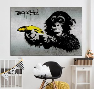 Wholesale banksy canvas art for sale - Group buy Graffiti For Chimpanzee Wall Holding Decor Painting Banana Living Home Printed Pictures Banksy Canvas Art Room A jllqH yummy_shop