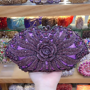 Wholesale purple rhinestone clutch resale online - 2020 New Purple Rhinestone Evening Bags Clutches Luxury Womens Crystal Shoulder Summer Ladies Diamond Party Purse Mini Bag Q1113