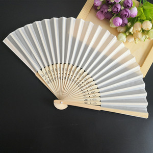 Wholesale ivory wedding gift bags for sale - Group buy Auviderin Ivory Wedding Folding Fan in Gift Box Personalized Logo with Organza Bag