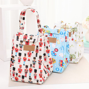 Wholesale designer bags resale online - Folding Insulated Lunch Handbag Camping Aluminum Foil Large Capacity Portable Food Bags Waterproof Oxford Cloth Print Lunch Bag EEE2615
