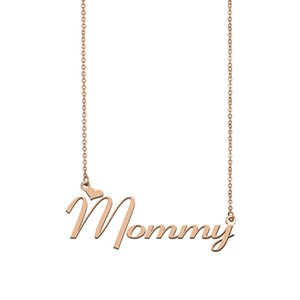 Wholesale gold mommy resale online - Mommy Name Necklace Custom Nameplate Pendant for Women Girls Birthday Gift Kids Best Friends Jewelry k Gold Plated Stainless Steel