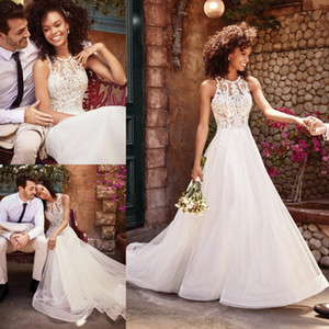 Stylish A Line Lace Wedding Dresses Jewel Neck Bridal Gowns Plus Size Sweep Train Tulle robe de mariée