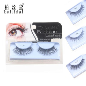 Wholesale false eyelashes human hair resale online - Fashion Style High Quality Full Handmade Made Human Hair False Eyelashes Extension Eyelashes Design Choose