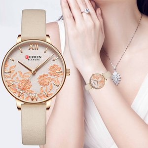 Wholesale gold curren resale online - Chinese Style Fashion CURREN Watches Women Steel Mesh Band Rose Gold Flower Clock Bracelet Watches for Ladies Waterproof