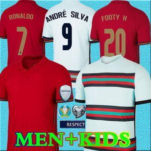 2020 RONALDO soccer jerseys JOAO FELIX NEVES BERNARDO CANCELO RUBEN NEVES 2021 away white 20 21 national team Men + Kids kit football shirt
