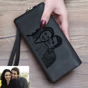Wholesale gifts new moms resale online - New Women Photo Wallet Personalized Gift for Mom Her Ladies Long Custom Engraved Wallets Double Zipper Clutch Mother s Day Gifts C1223