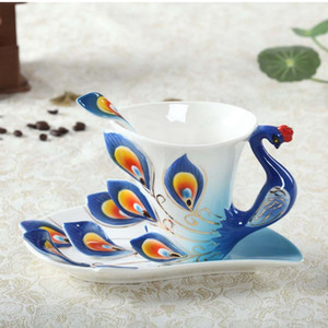Wholesale enamel mug cup for sale - Group buy Ceramic Enamel Coffee Mug Dish Set Creative Rose Peacock Coffee Cup with Saucer and Spoon Set Birthday Festival Gift CCA3427