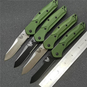 "Benchmade 940 940-1 AXIS Osborne Folding Knife 3.4"" S30V Satin Plain Blade, Purple Anodized Spacer titanium,Green Aluminum Handles bm knife"