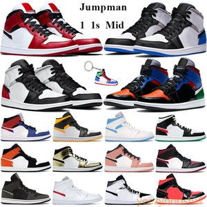 Wholesale keychain halloween for sale - Group buy Jumpman s Basketball Shoes Mid chicago mid multi patent Men Women Sneakers SE white black red laser orange black Trainers Keychain