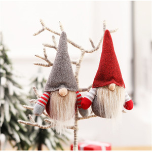 ingrosso alberi di decorazione di natale-Christmas Handmade Swedish Gnome Scandinavo Tomte Santa Nisse Nordico Peluche Elfo Toy Table Ornament Xmas Tree Decorations JK1910xb