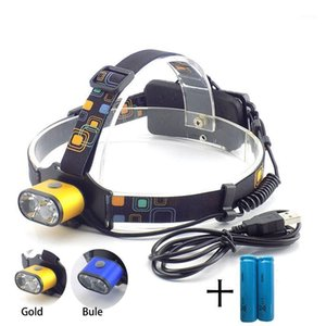 Wholesale headlamp dual resale online - LED Headlamp Dual T6 Camping Headlight Rechargeable USB Lanterna Battery Head Torch Lamp Light White Lights1