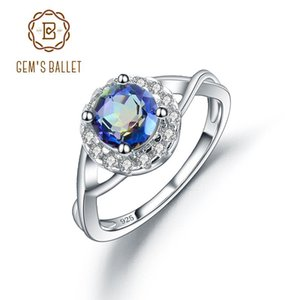 Wholesale halo engagement rings for sale - Group buy GEM S BALLET Sterling Silver Halo Engagement Ring Natural Mystic Topaz Birthstone Fashion Rings For Women Fine Jewelry