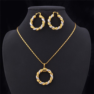 Wholesale platinum girls earrings for sale - Group buy 2015 Two Tone Gold Necklace Set Platinum K Real Gold Plated Trendy Pendant Necklace Hoop Earrings Women Jewelry Set K2