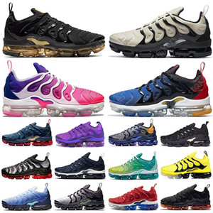 Wholesale bowling shoes resale online - Top Quality tn plus mens running shoes Light Bone Royal Blue Metallic Gold Pink Purple Hyper Violet Lemon Lime women sports trainers sneakers