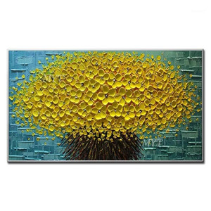 Wholesale texture art painting for sale - Group buy 3D Thick Art Oil Painting Palette Knife Gold Flower Oil Painting Texture Canvas Wall Art Pictures For Living Room Decoration1